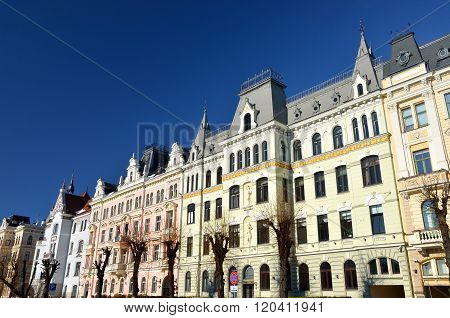 Historical art nouveau style buildings in Elizabetes iela in Riga, Latvia
