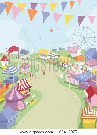 Illustration of a Big Theme Park Surrounded by Festival Booths