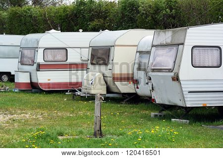 Travel trailers in line