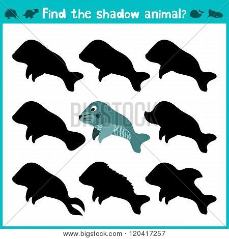 Educational Children Cartoon Game For Children Of Preschool Age. Find The Right Shade Cute Marine Ma