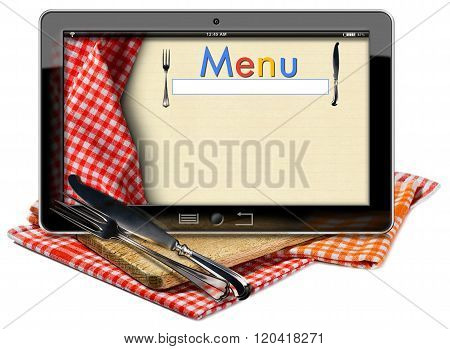 Tablet computer with text Menu in the screen on a wooden cutting board checkered tablecloth and silver cutlery. Isolated on white background