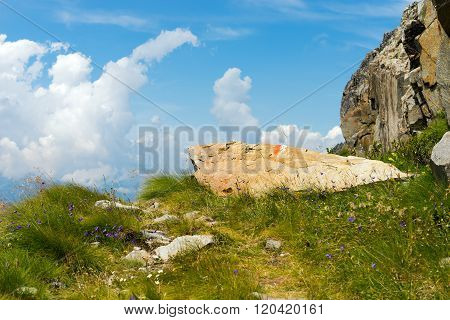 Trail Sign On A Rock - Italian Alps