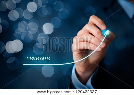 Increase revenue concept. Businessman plan revenue growth bokeh in background. poster