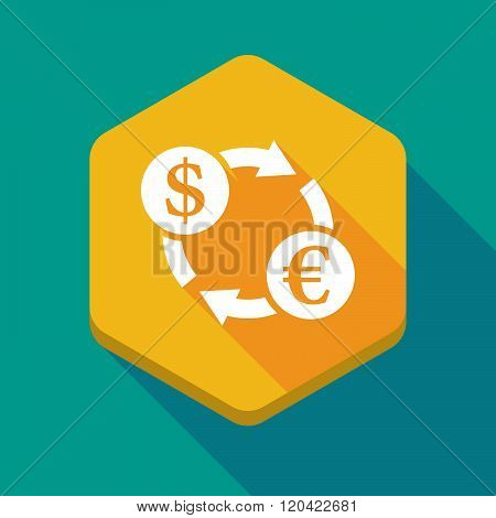 Long Shadow Hexagon Icon With A Dollar Euro Exchange Sign