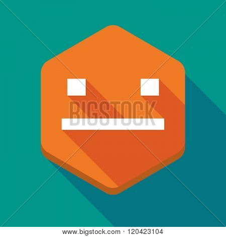 Long Shadow Hexagon Icon With A Emotionless Text Face