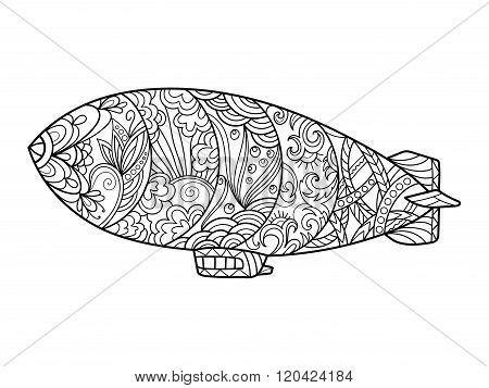 Dirigible aircraft coloring book for adults vector