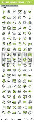 Thin line icons set of website and mobile website design and development