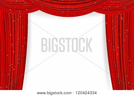 Open red curtains with stars on white background