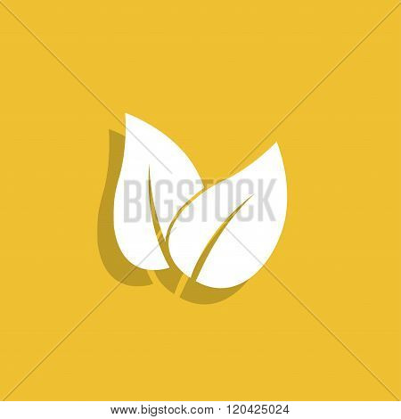 Leaf Icon Design. Flat Design Style.