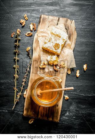 Honey Background. Natural Honey With Herbs.