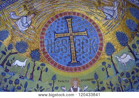 Ravenna, Italy - 18 August, 2015 - 1500 Years Old Byzantine Mosaics From The Unesco Listed Basilica