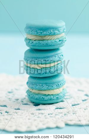 Turquoise macarons with buttercream filling