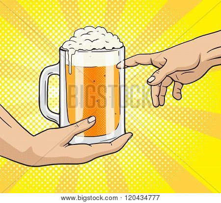 Hand gives mug of beer to other hand pop art