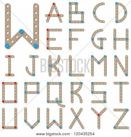 Latin alphabet made of wooden meccano