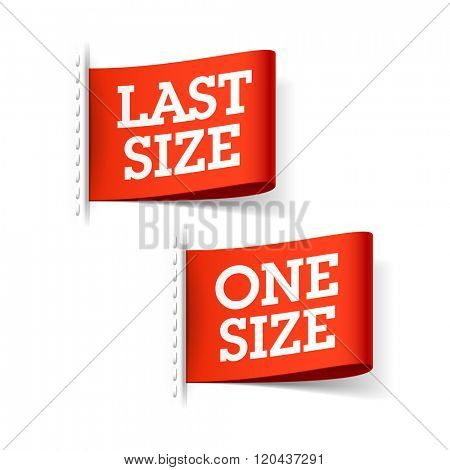 Last Size and One Size clothing labels vector illustration poster