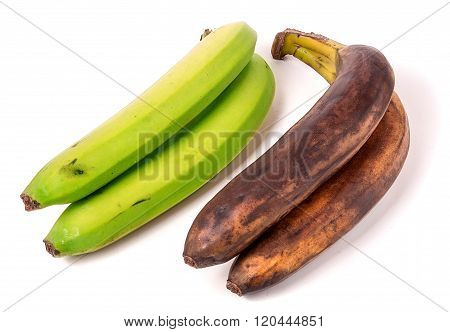 Unripe and overripe bananas isolated on white background poster