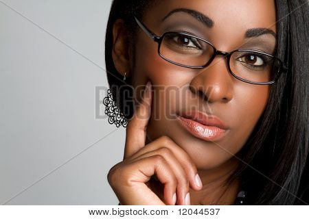 Black woman thinking