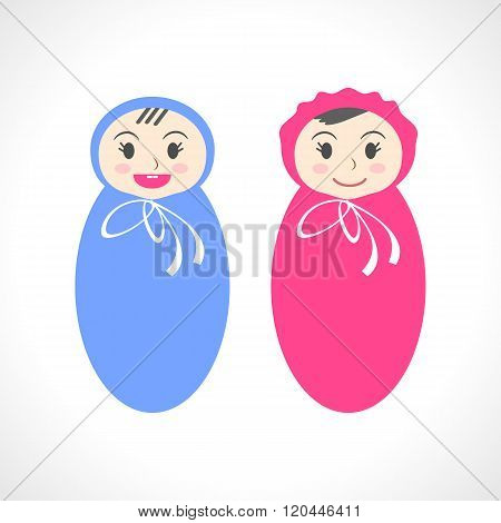 Vector illustration of cute dolls. Baby boy and baby girl