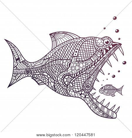 Deep water predator attacking little fish