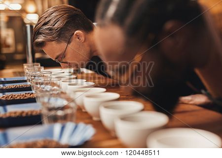 Baristas bending over rows of fresh coffee at a tasting