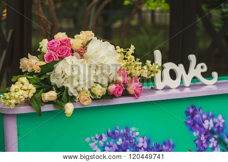 Royal Wedding Ceremony In Spring With Piano Decorated By Flowers
