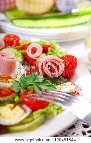 Ham Salad With Eggs And Vegetables For Easter