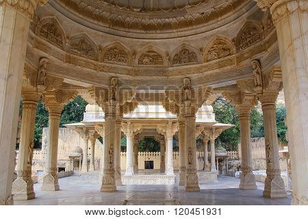 View Of The Carved Dome At Royal Cenotaphs In Jaipur, Rajasthan, India