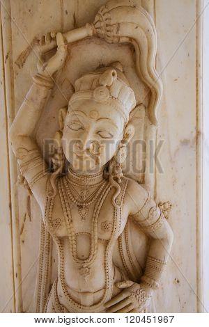 Detail Of The Carved Pillar At Royal Cenotaphs In Jaipur, Rajasthan, India