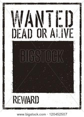 Wanted Vintage Western Poster. Aged Vector Template