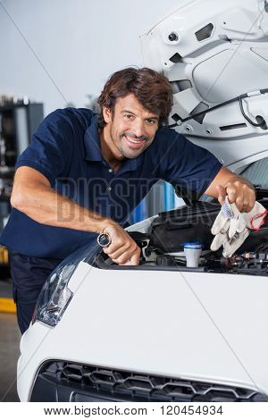 Happy Mechanic Examining Car Engine