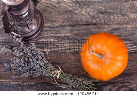 Yellow Pumpkin With Lavender And Lantern