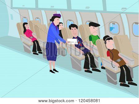 Flight Attendant Talks to a Passenger in an Aisle. Editable Clip Art.