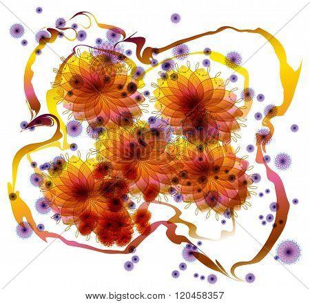 Scattered flower shape