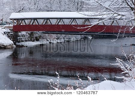 Covered Bridge In New England Snowstorm