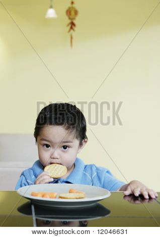 Portrait of young boy eating cracker