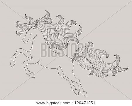 Jumping horse with beautiful wavy mane and ponytail. Vector illustration.