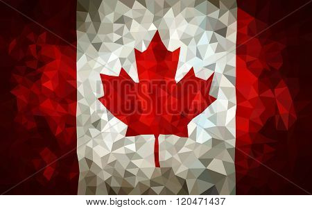 Canada hight poly triangulate flag