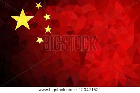 China hight poly triangulated flag