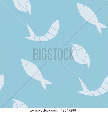 Vector Seamless Pattern With Seafood