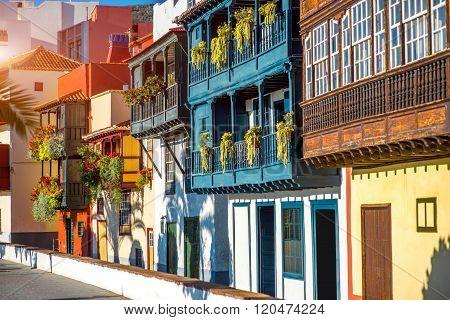 Colorful balconies in Santa Cruz city on La Palma island