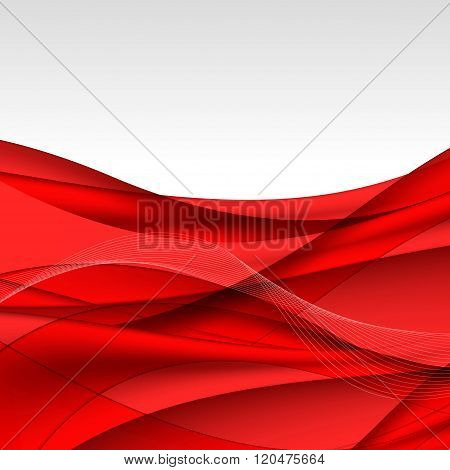 Abstract Red Waves - Data Stream Concept. Vector Illustration