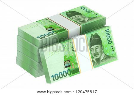 packs of South Korean won isolated on white background