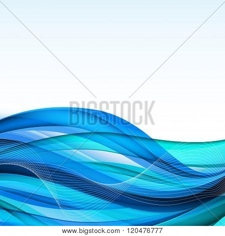 Abstract Blue Waves - Data Stream Concept. Vector Illustration
