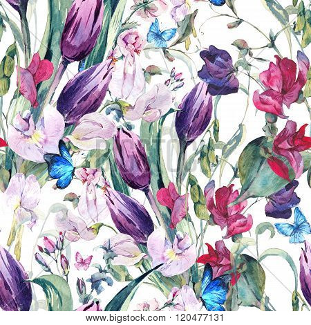 Watercolor Seamless Background with Sweet Peas, Tulips
