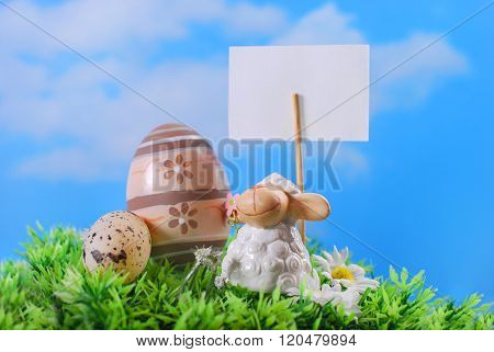 Easter Card With Cute Lamb And Eggs