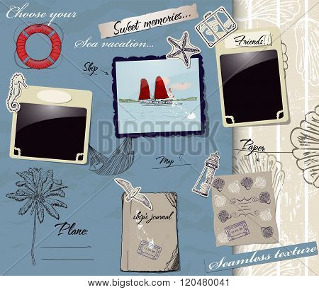 Scrapbookng poster with sea traveling elements.