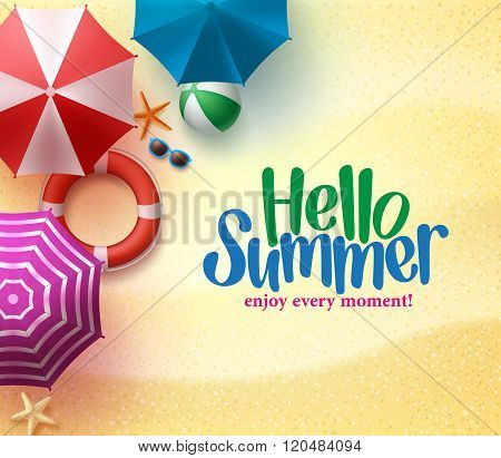Hello Summer Background with Colorful Umbrella, Beach Ball