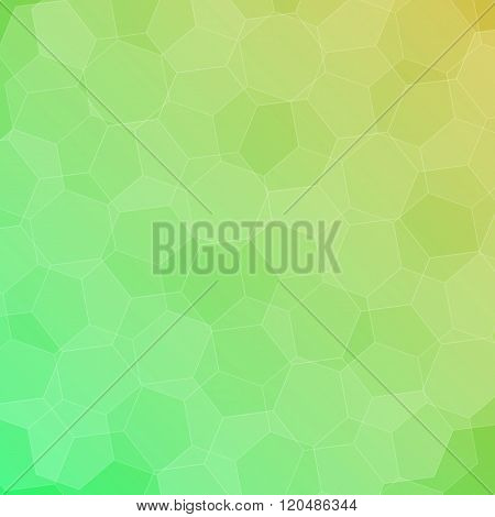 Abstract Green-yellow Background With Hexagons