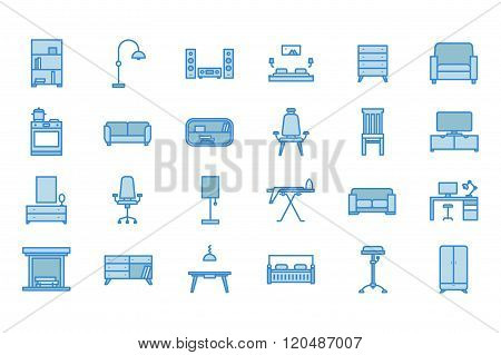 Furniture icons. Line art. Stock vector.