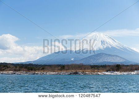 Lake Shoji and Fujisan with blue sky